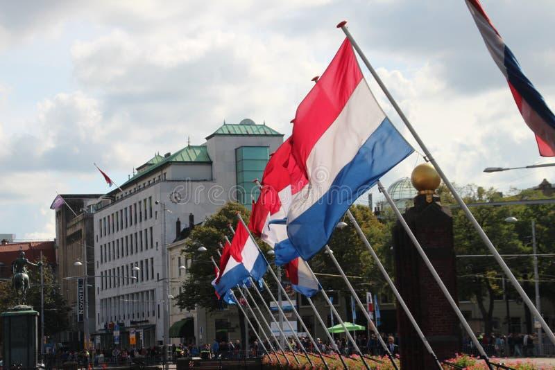 Holländska flaggor under prinsdagen ståtar i Haag arkivbilder