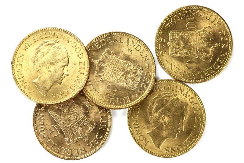 Holländska guld- mynt arkivfoton