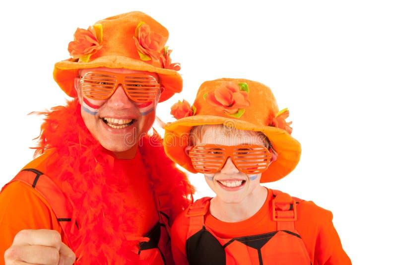 holländska orange fotbollsupportrar royaltyfria foton