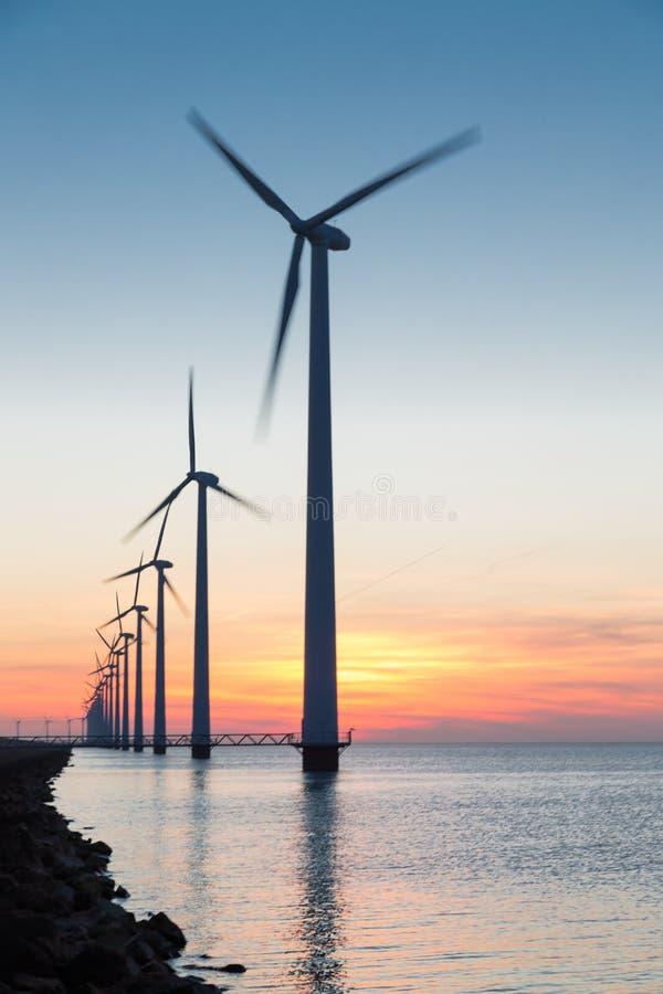 Holländska turbiner för frånlands- vind för rad på den härliga solnedgången royaltyfria foton