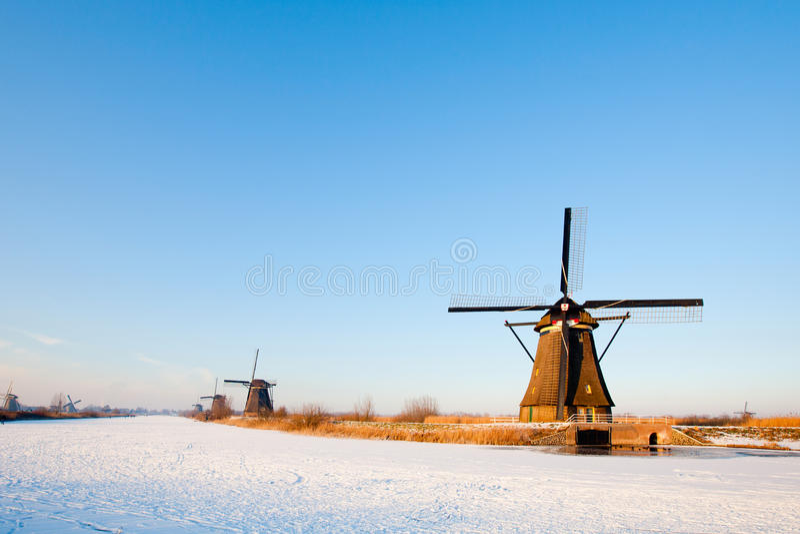 holländska windmills arkivfoto