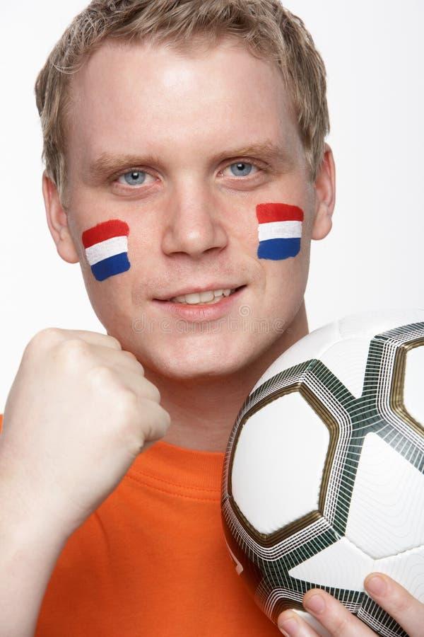 holländskt barn för manlig för ventilatorflaggafotboll arkivbild