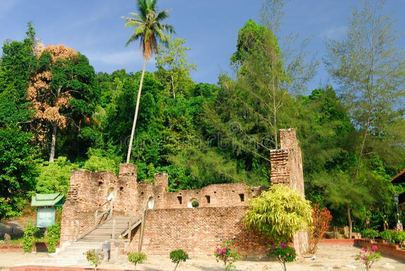 Holländskt fort, Pangkor, Perak, Malaysia arkivbilder