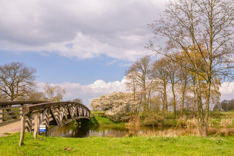 Holländskt landskap med bron och vatten fotografering för bildbyråer
