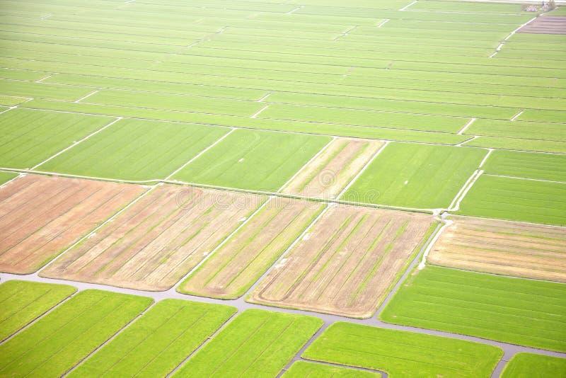 Holländskt lantgårdlandskap från över arkivfoton