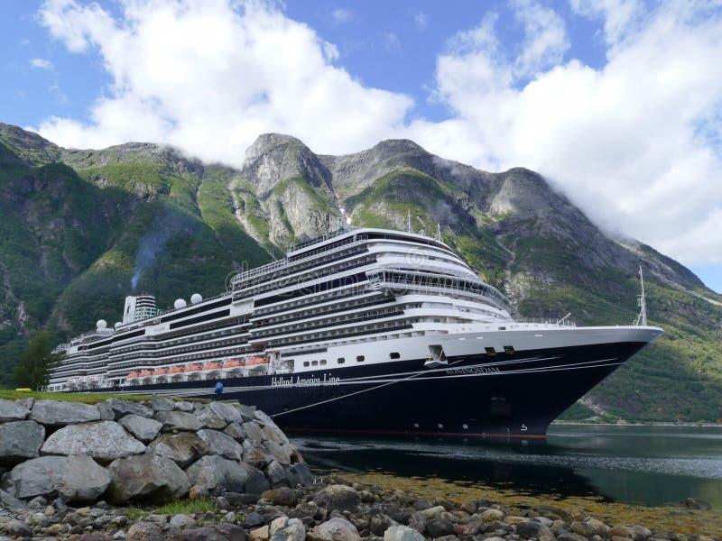 Cruiseship in Eidfjord, Norway royalty free stock images