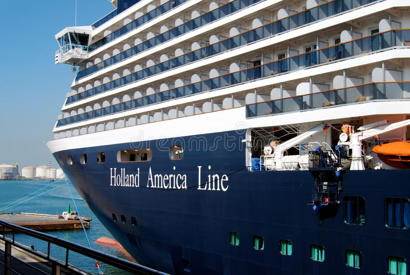 Holland America Zuiderdam cruise ship in port. Zuiderdam ship bow and bridge command deck. The ship is moored at dock as it awaits Mediterranean Cruise departure stock photo