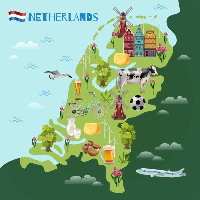 Holland Cultural Travel Map Poster royaltyfri illustrationer