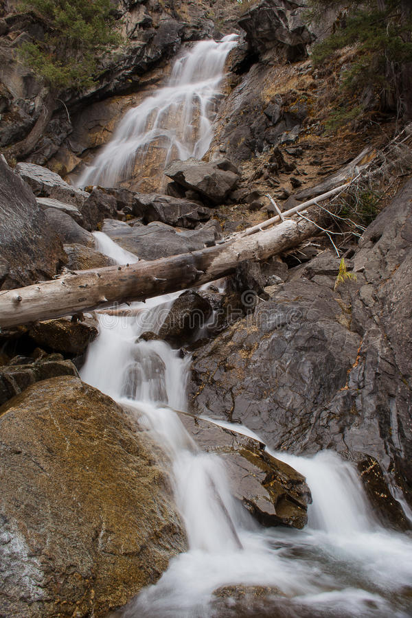 Holland Falls. Water from Upper Holland Lake Cascades through a narrow chasm above Holland Lake in the Sweeley/Swan Valley of Montana. The stream originates in stock photography