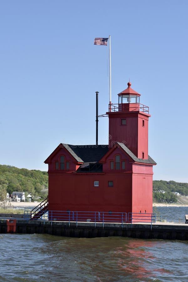 Holland Harbor Light arkivfoton
