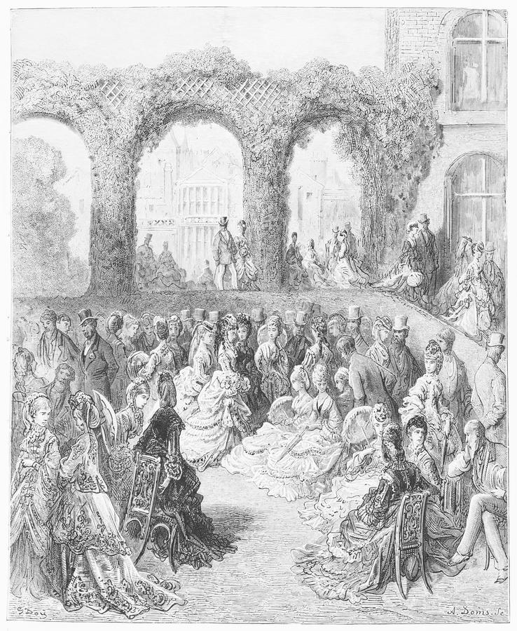 Holland House - A Garden Party. Picture from Gustave Dore's London: a Pilgrimage illustrated book published in 1873, London - UK