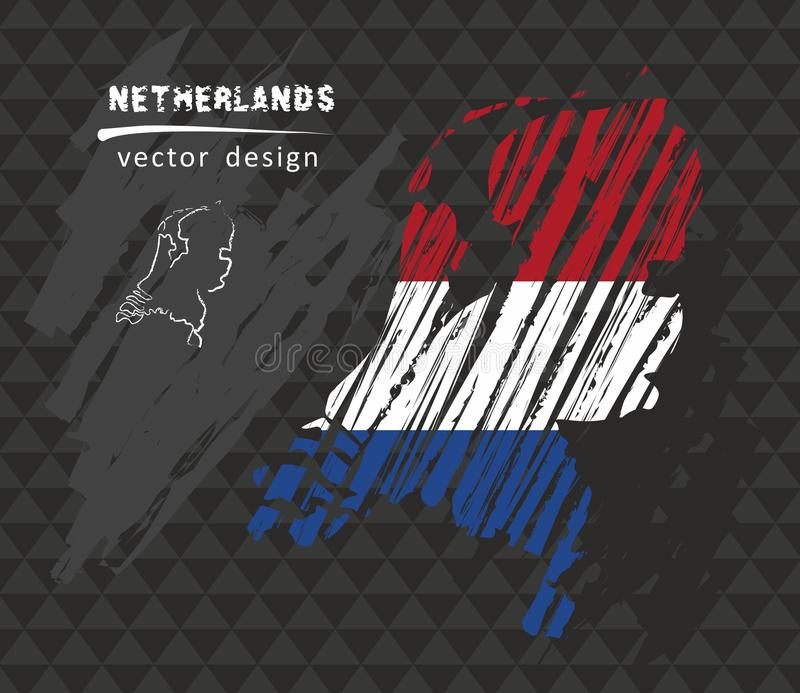Holland national vector map with sketch chalk flag. Sketch chalk hand drawn illustration. Vector sketch map of Netherlands with flag, hand drawn chalk vector illustration