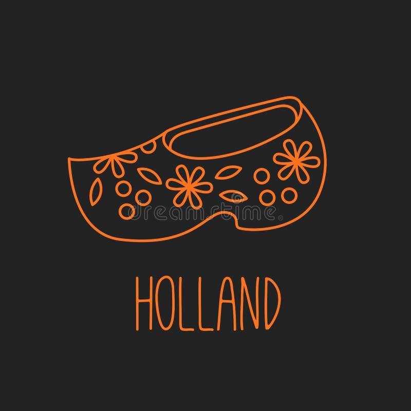 Holland Netherlands-schoenpictogram royalty-vrije illustratie
