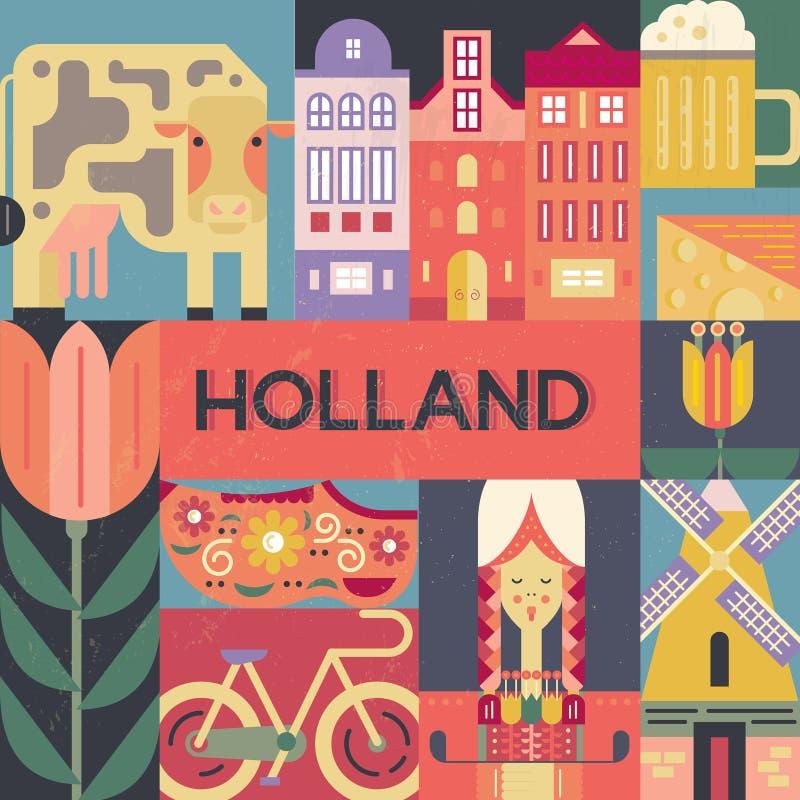 Holland Symbols. Conceptual illustration of Holland symbols made in modern flat style vector. Unique design for poster, tourist company flyer or banner. Visit stock illustration