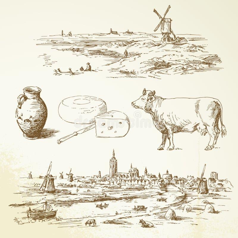 Holland-Windmühle stock abbildung