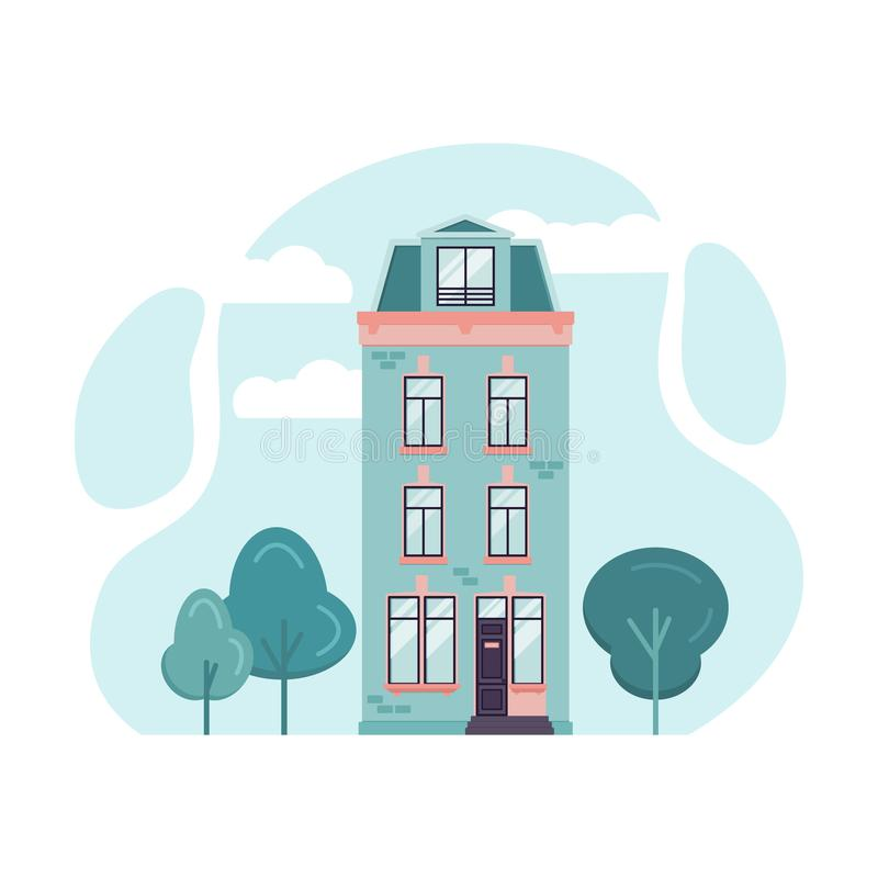 Hollandian classic building facade in flat style. Cartoon illustration of Amsterdam tall house. Vector illustration vector illustration