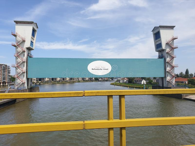 Hollandsche IJssel Kering as water barrier at the Algerabrug bridge to prevent flooding. royalty free stock photography