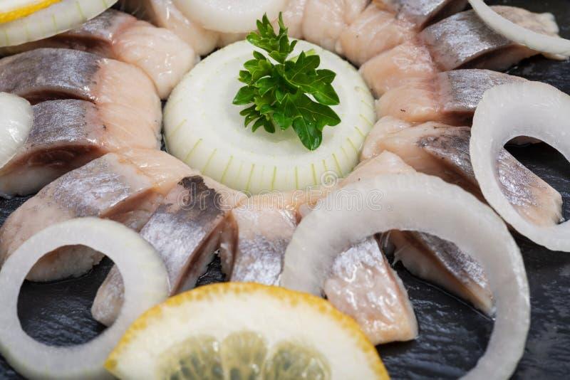Hollandse Nieuwe- traditionell holländsk mat Öst rå sill som blöts i mild marinad Garnerat med citronen, löken och persilja royaltyfri fotografi