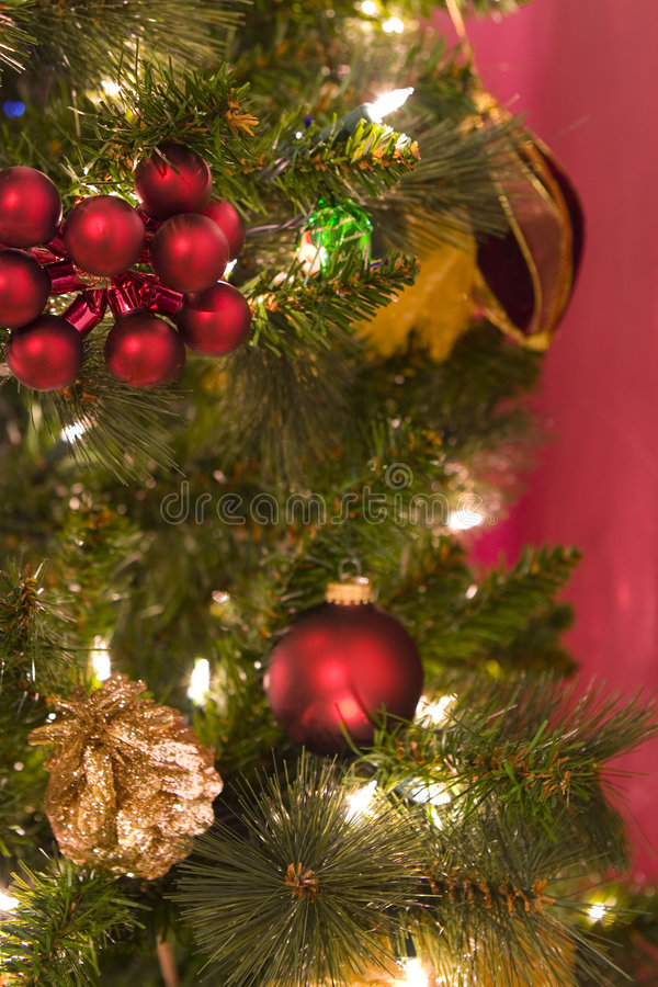 Holliday balls. Close up of christmas tree with balls stock image