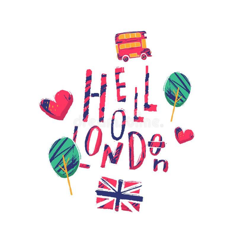 Hollo иллюстрация плаката Лондона с автобусом, такси, ландшафтом городского пейзажа для футболки иллюстрация штока