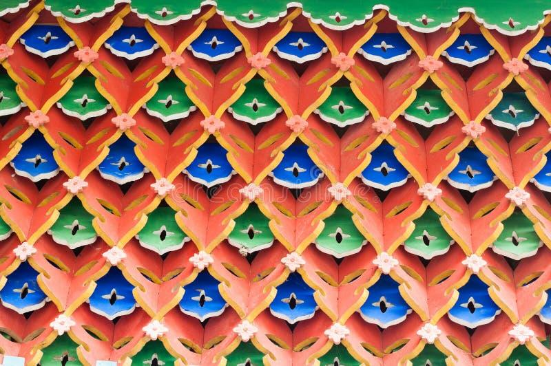 Hollow architecture closeup with geometry rhombus pattern. At jianfu palace,qingcheng mountain, dujiangyan, China royalty free stock photos