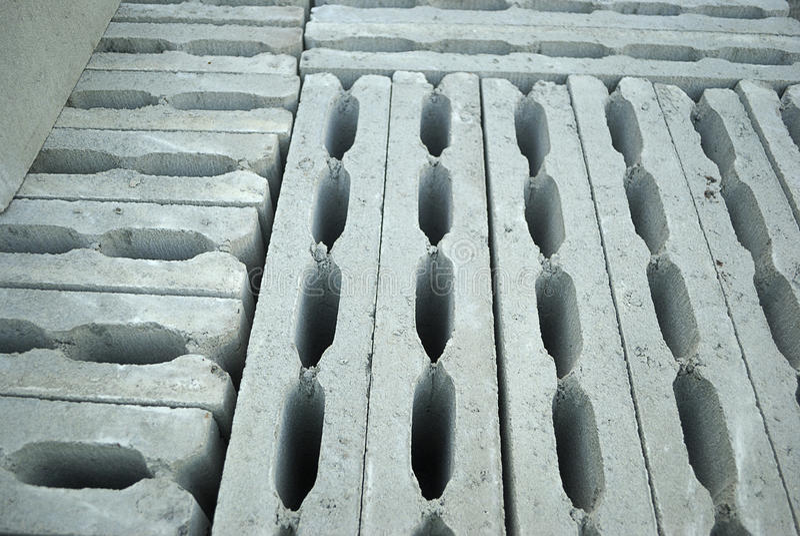Hollow concrete blocks royalty free stock photography