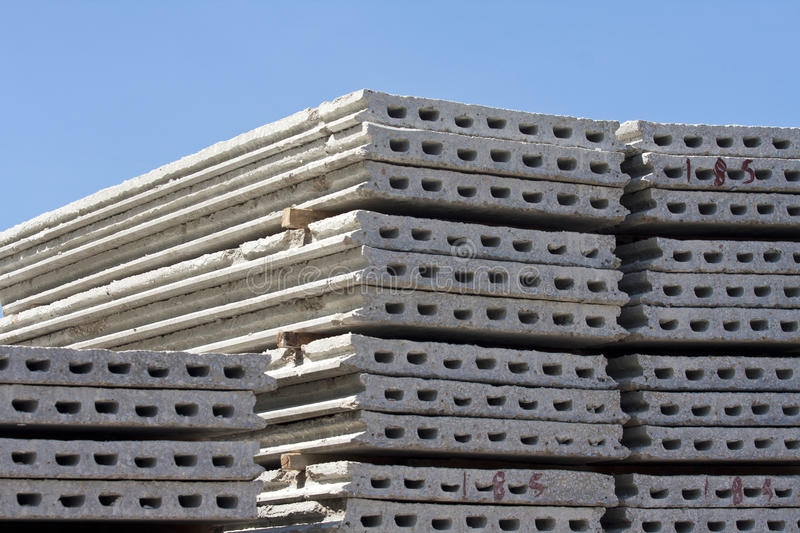 Hollow core concrete floor. Precast concrete hollw core floor in construction site stock images