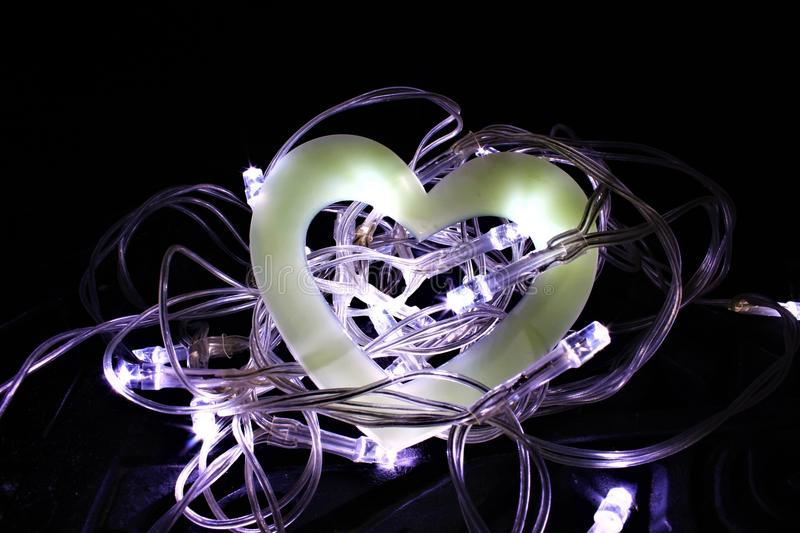 Hollow Heart in a Nest of Fairy Lights royalty free stock image