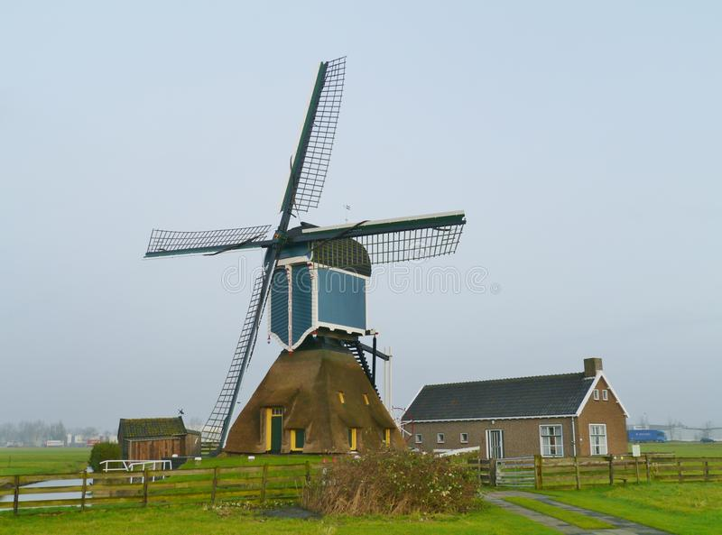 Hollow post mill of Zoeterwoude. The blue hollow post mill of Zoeterwoude in the Netherlands stock image