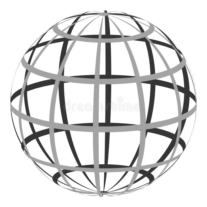 Hollow sphere with a coordinate grid of parallel and Meridian royalty free illustration
