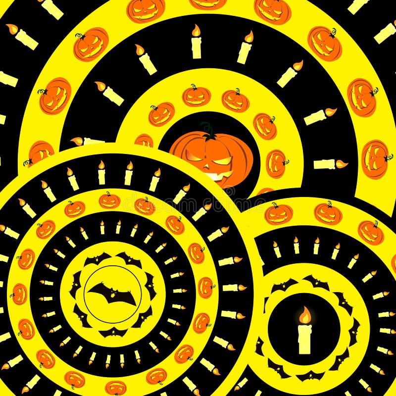 Holloween wzór z baniami, nietoperzami i świeczkami, obraz stock