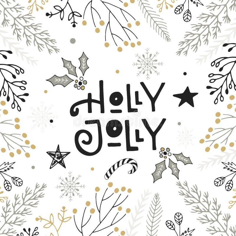 Holly ευχάριστα - συρμένη χέρι εγγραφή Χριστουγέννων με floral και τις διακοσμήσεις Χαριτωμένη νέα τέχνη συνδετήρων έτους επίσης  διανυσματική απεικόνιση