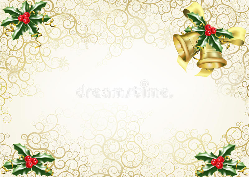 Holly and bells christmas background vector illustration