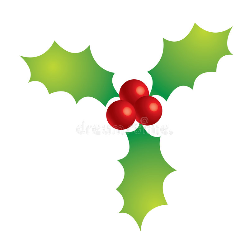 Holly berries. A 3d drawing of holly berries and leaves royalty free illustration