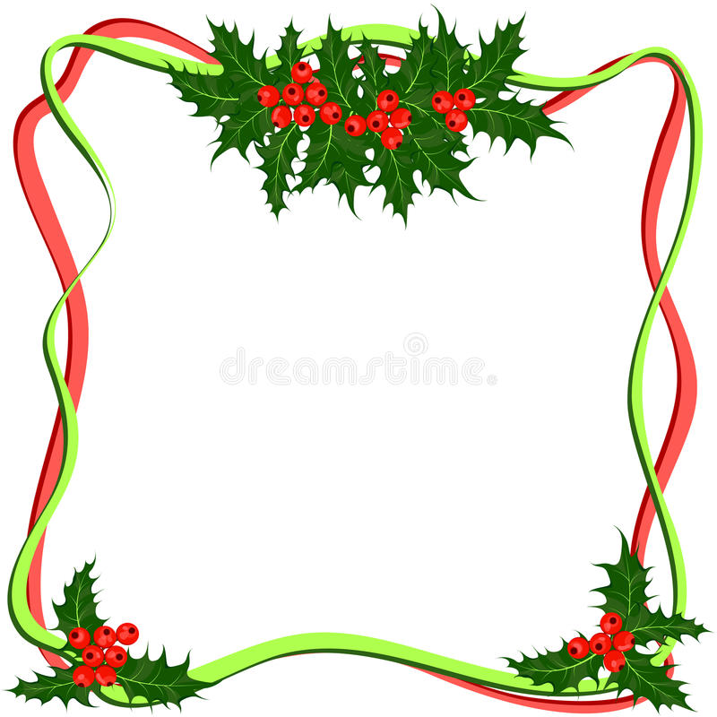 Holly berries frame. Christmas symbol vector stock illustration