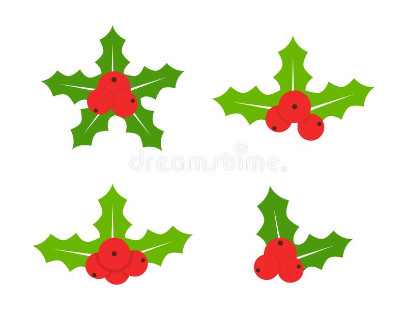 Holly berries icon collection. Merry Christmas sign. Xmas design elements for wreath, festive, card, web, poster vector illustration