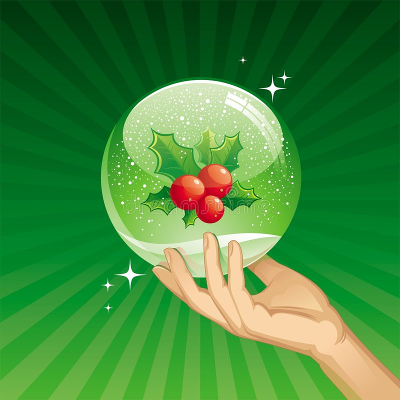 Holly berries in a snow globe vector illustration