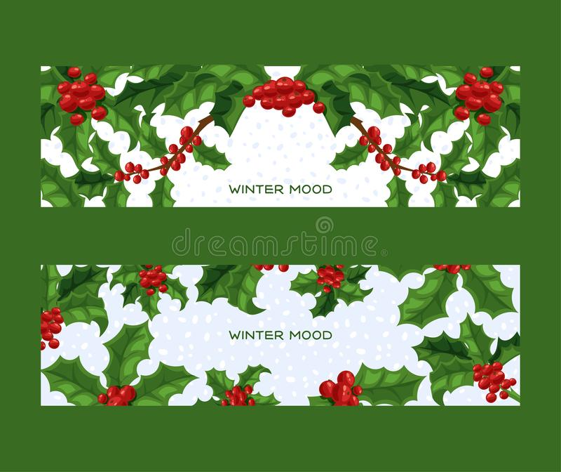 Holly berries vector Christmas traditional decoration frame on Xmas winter holiday backdrop illustration of framed royalty free illustration