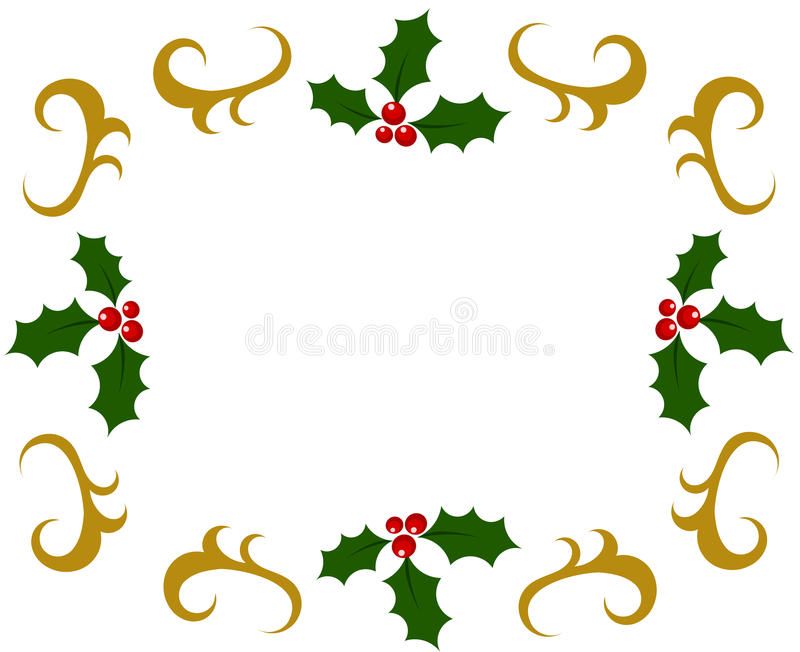 Holly berry frame royalty free illustration