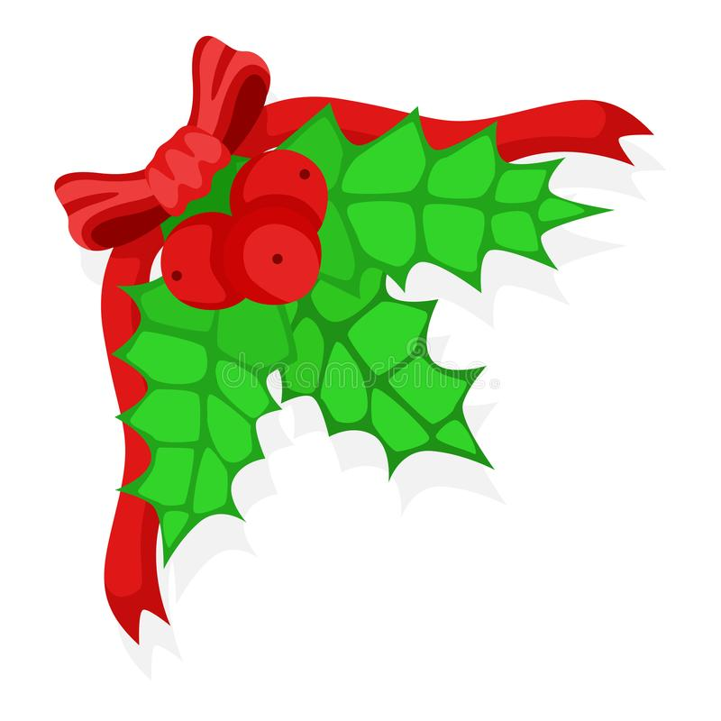Holly berry leaves Christmas. Vector illustration stock photography