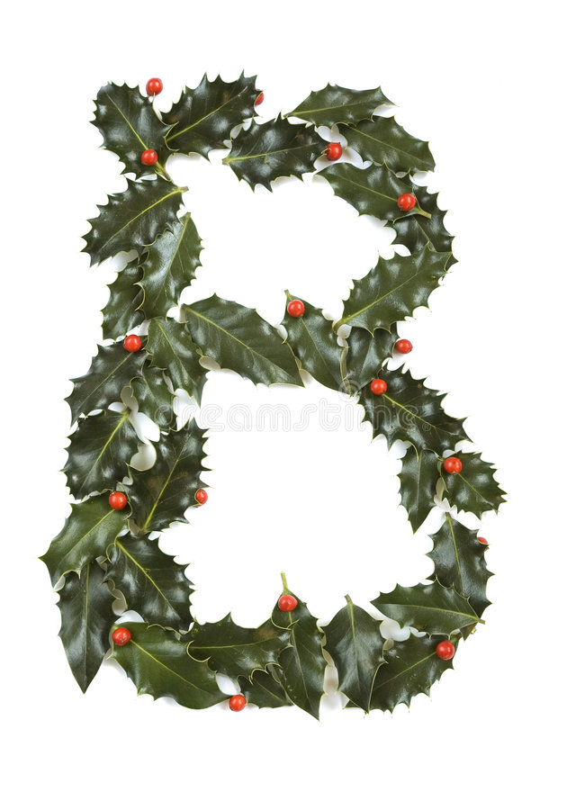 Holly With Berry Letter B Royalty Free Stock Photography