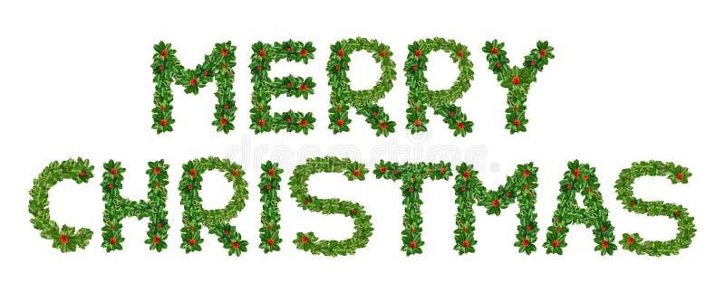 Holly With Berry Letters-alfabet Holly Leaves met bes in de vorm van vrolijke Kerstmis Ge?soleerd op wit royalty-vrije illustratie