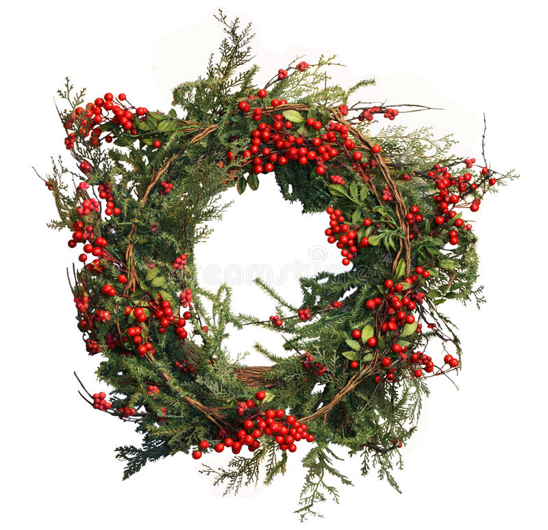 Holly Berry and Pine Christmas Wreath stock photography