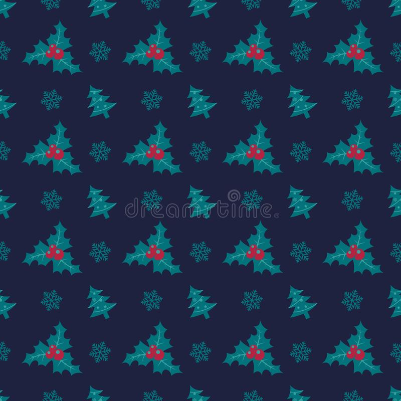 Holly berry seamless pattern christmas symmetry texture navy background royalty free stock images