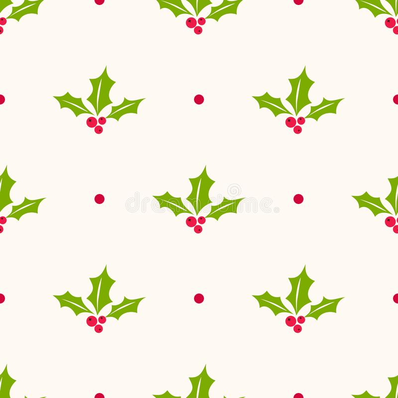Holly berry vector seamless pattern. Christmas background with mistletoe berries stock illustration