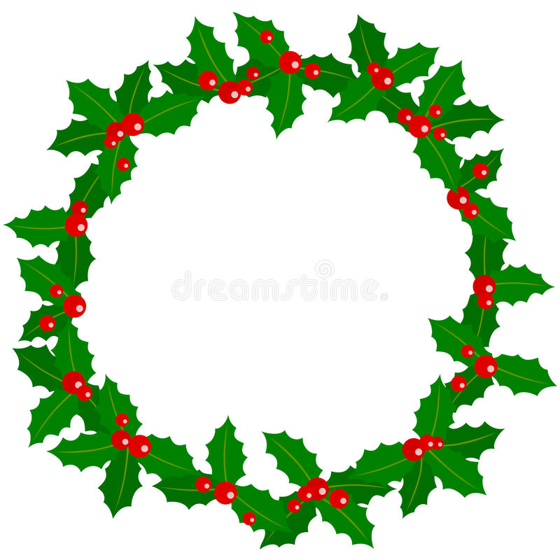 Holly Berry Wreath. A holly berry wreath isolated on white background. Useful also as photo frame, post card or page for your scrapbook. Eps file available royalty free illustration