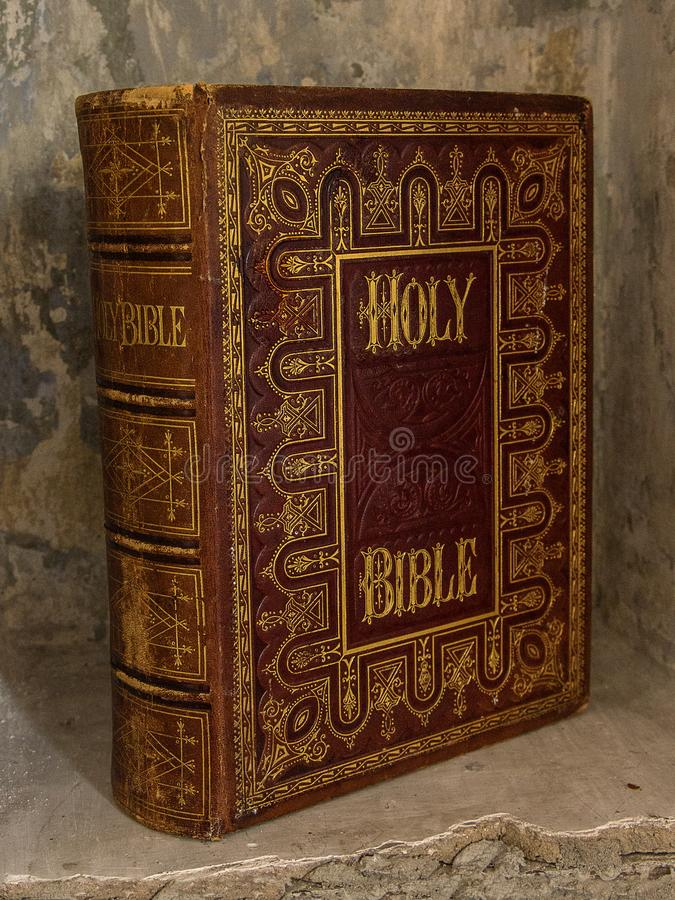 Holly Bible. Old book. Old bible isolated. Bible book religion book holy bible christianity holy book. Family holy book. Photo of a Bible book for background stock photo