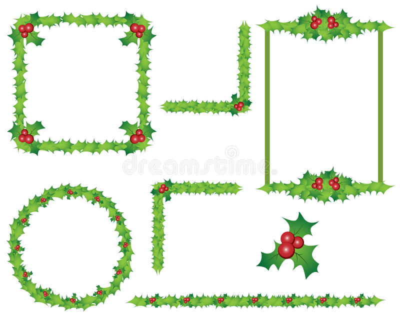 Holly border frames. Collection of holly leaves frames and borders for Christmas,isolated on white background.EPS file available