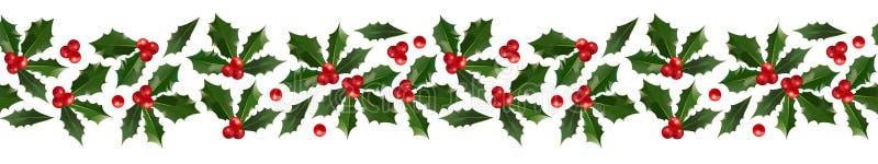 Holly Christmas dekorativ gräns stock illustrationer
