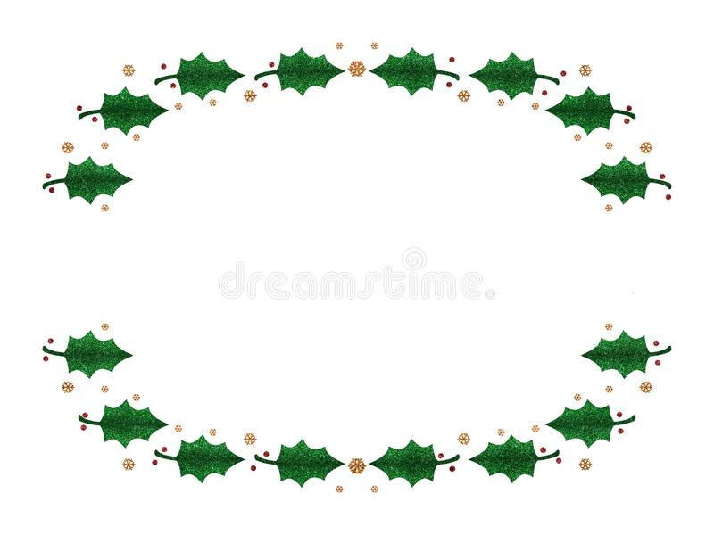 Holly Christmas festive background. Glitter effect with gold snow flakes. Isolated on white. Ideal top and bottom frame royalty free stock photography